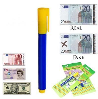 2X Bank Note Tester Pen Money Checking Detector Marker Fake Banknotes Office WS