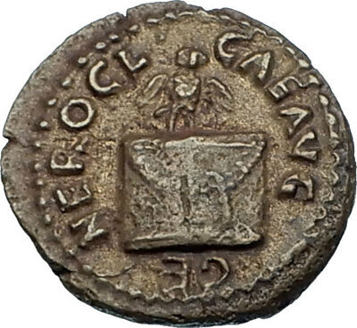 NERO 63AD Rome Authentic Ancient Roman Quadrans Coin w OWL ALTAR Branch i65545