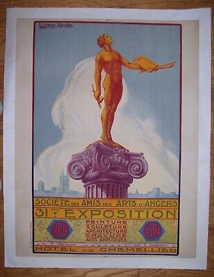 VINTAGE FRENCH EXPOSITION POSTER ART DECO LITHO 1926 by E. Henry Karcher