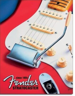 FENDER GUITAR Stratocaster Guitar Vintage Advertising Tin Sign #1766
