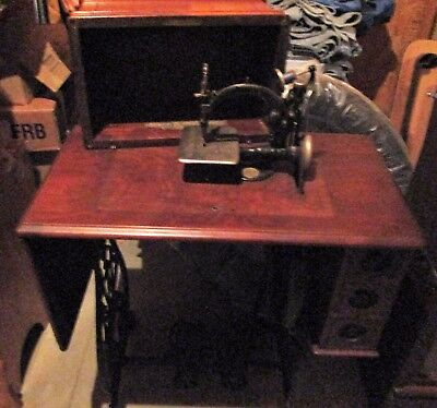 Willcox and Gibbs DropLeaf Walnut Cabinet Sewing Machine