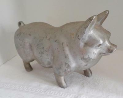 Vintage Cast Metal Folk Art Pig - Butcher, BBQ, Decor Etc.  Large
