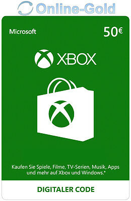 Xbox Live Card - 50 Euro Microsoft Guthaben - ms Xbox 360 / Xbox One Live Card