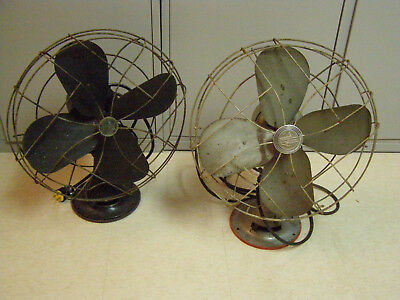 """Two Vintage Emerson Electric Fan 79648-AQ & 79648-SD 3 Speed Oscillating 16"""""""