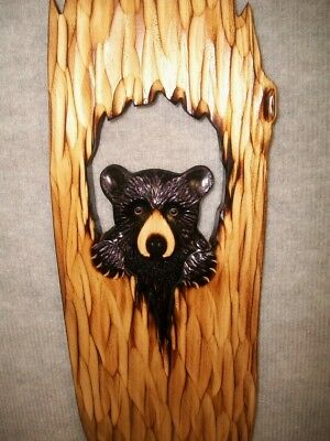 Hand Carved BLACK BEAR CUB peeking out HOLLOW TREE Wall Chainsaw Wood Carving