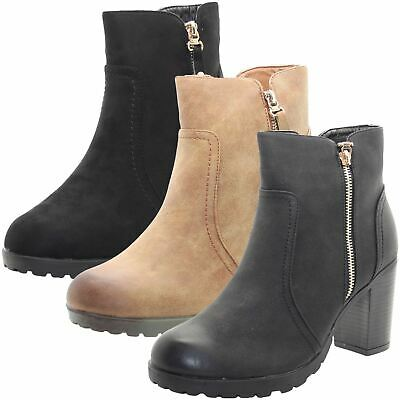 409ae2276a064 LADIES BIKER FAUX Suede Leather Ankle Boots Womens Chelsea Block High Heel  Shoes - EUR 16