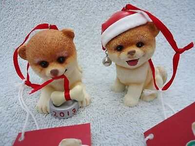 Boo The World's Cutest Dog Pomeranian Lot of 2 Dept 56 Christmas Ornaments