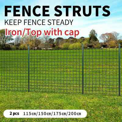 vidaXL 2pcs Garden Mesh Fence Strive Post Iron Outdoor Wire Fencing Multi Sizes