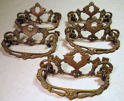 "Furniture Handle Bale Drawer Pull Victorian Antique Cast Brass 3"" Center x5"