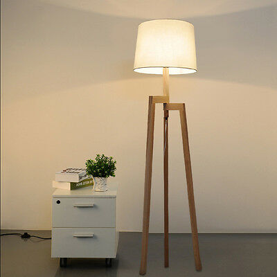 Modern Minimalist Wood Tripod Floor Lamp Bedroom Reading Lighting Floor Light F9