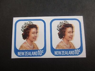 New Zealand Stamps: QEII 10c Imperforated Pair Yellow Orange Colour Shift  (F59)