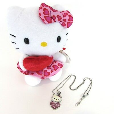 Ty Beanie Baby Heart Hello Kitty Plush and Rhinestone Pendant Silver Necklace