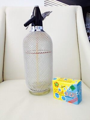 Vintage Collectable Silver Mesh Soda Syphon + Bulbs - Made In Czechoslovakia