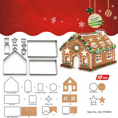10Pcs Set 3D Stainless Steel House Gingerbread Biscuit Cookie Cutter Baking Tool