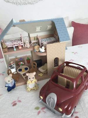 Sylvanian Families Bluebell Cottage With Car Furniture & Babies Bundle