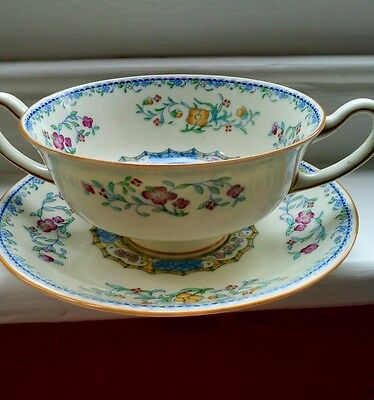 Royal Doulton Morella antique lugged soup bowl& saucer '20's/'30's H2878/37