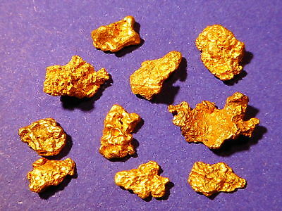 10 Sparkling Clean Australian Gold Nuggets  ( 2.87 grams ). + FREE GIFT.