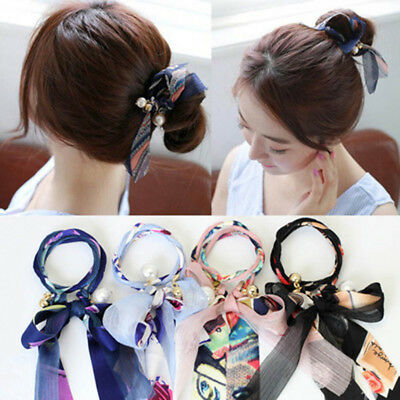 Women Grils Long Hair Band Rope Elastic Holder Headband Ponytail Ribbon Bow Tie