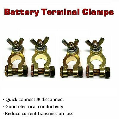 Positive + Negative Truck UTE Battery Terminals Clamp Brass Connector Heavy Duty