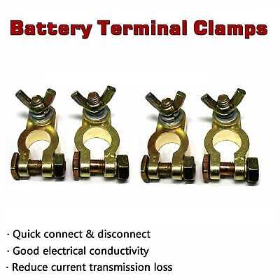 Truck UTE Battery Terminals Clamp Brass Connector Positive + Negative Heavy Duty