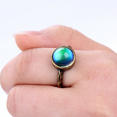 Handmade Mood Ring Antique Gold Plated Color Change Ring with Color Chart