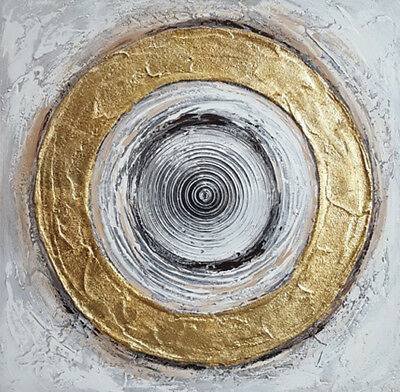 Abstract Gold Circle Hand Painted Oil Painting Stretched Canvas Wall Art
