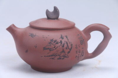 Exquisite Chinese Hand carving Yixing red stoneware teapot aa456