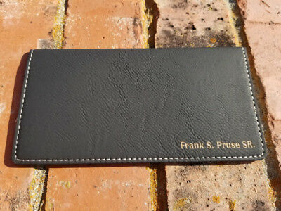 Personalized Black/Gold Leather Checkbook Cover