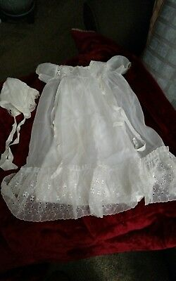 Vintage Christening Gown With Bonnet And Blanket