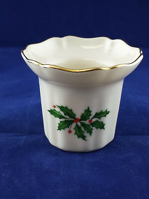 Lenox 'holiday' Votive Candle Holder ~ Cream With Holly Design & Gold Trim
