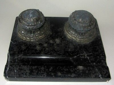 Ancien Encrier Double En Regule Sur Marbre Antique French Inkwell