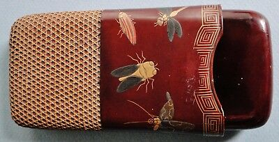 Antique Finely Decorated Japanese Maki-E Lacquer Cigar Case Insects Rattan Meiji