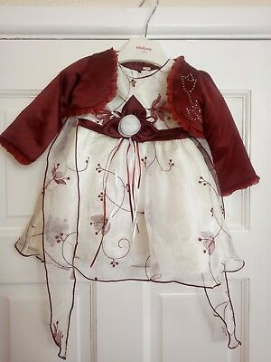 Burgundy Christening Flower Girls Party Wedding Bridesmaid Pageant Dress 3-6mont