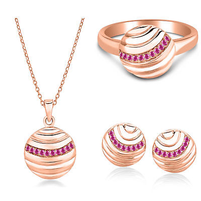 Pink Sapphire 14k Rose Gold Over 925 Silver Jewelry Set Ring Earrings Pendant