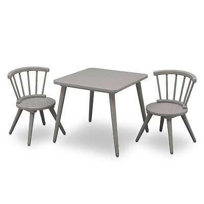 Delta Children Windsor Kitchen Home Dining Table and 2 Chair Play Set, Grey
