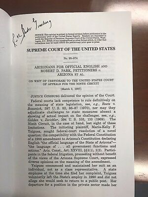 Supreme Court Justice Ruth Bader Ginsburg signed slip opinion (1997)