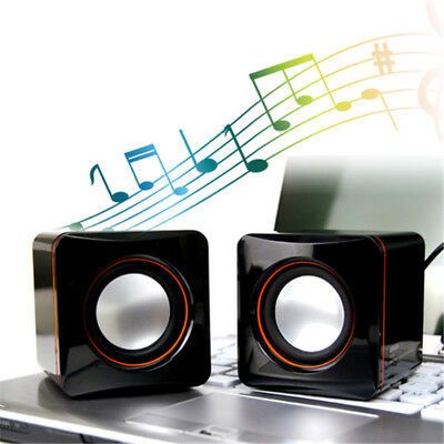 3.5mm MP3 Music Player For PC USB Cube Shape Mini Speaker Portable Desktop HOT
