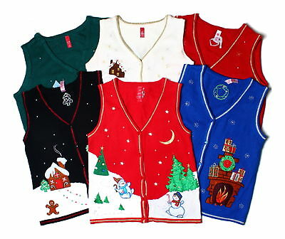 Novelty Christmas Vintage 90s Beaded Sweater Vest Waistcoats UK 8 10 12 14 16 18