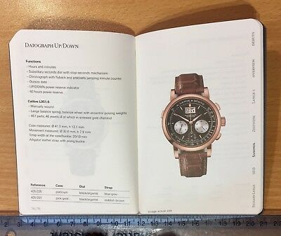 A. LANGE & SÖHNE Fine Watch Timepiece Catalogue 2017 Pocket Paperback New!
