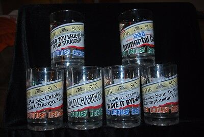 1998 Baltimore Orioles McDonalds Set of 6 Collector Glasses Complete MLB NICE!!