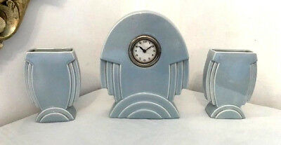 French 1930s ART DECO garniture clock authentic deco style ceramic 3 piece clock