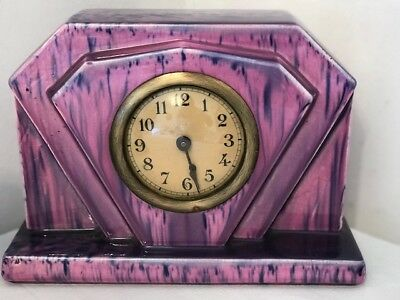 ART DECO 3 piece French 1930s clock authentic deco style lilac ceramic DECO set