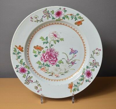 Beautiful Large Chinese plate Qianlong Famille rose 18th century (n°5)