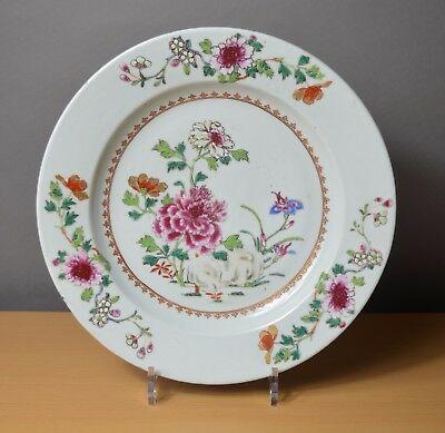 Beautiful Large Chinese plate Qianlong Famille rose 18th century (n°6)