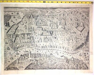 1621 CONSTANTINOPLE Antique Engraved Map View JASPAR ISAC Birds Eye Istanbul