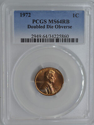 1972 1C Lincoln Cent Doubled Die Obverse Error PCGS MS64 Red Brown RB