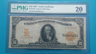 1907 $10 Gold Certificate PMG Certified: VF20. Gold reverse!