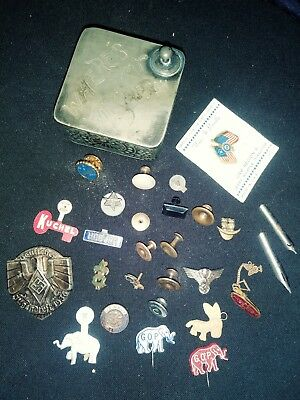 Junk drawer lot silver gold military nazi g.o.p. hoover antique 1936 navy ww2