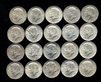 One Roll 1964 Kennedy Half Dollars 90% Silver (20 Coins)   Lot D10