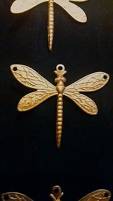 Vintage Dragon Fly Solid Brass Pendents 9 PCS